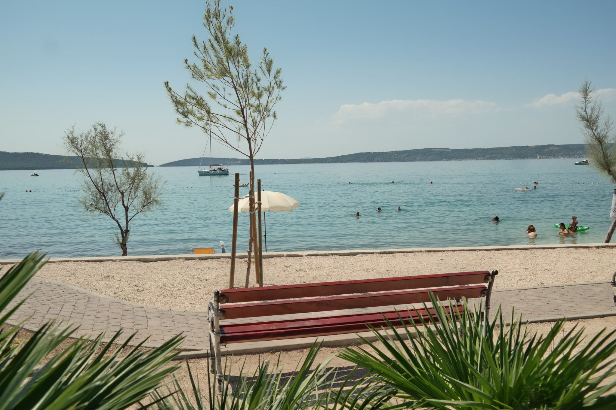 bench with the view in Kastel Kambelovac overlooking beach